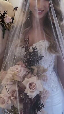 2 Tier Designer Wedding Veil Encrusted With Pearls | RRP $1500