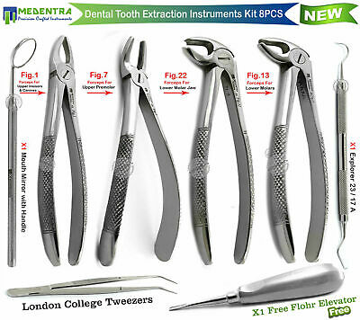 Medentra® Oral Surgery Extraction Tooth Extracting Forceps Set Root Elevator 8Pc