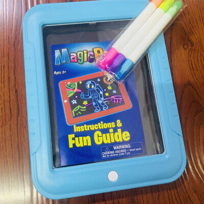 Kids Gift LED Magic Drawing Pad Fun Light Effect 3D Transparent Screen Light Up