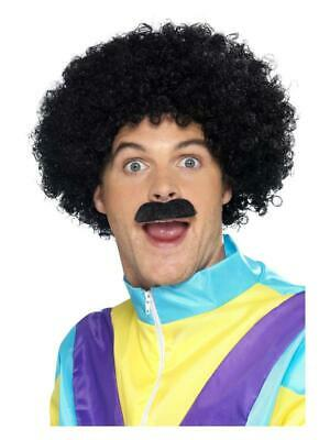 Mens 1980'S Fancy-Dress Accessory Scouser Kit Black Curly Afro Wig And Tash