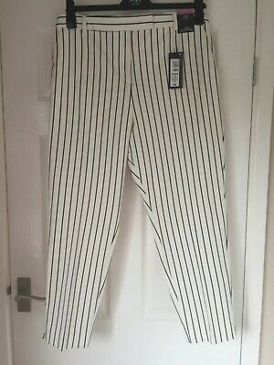 M&S White with black stripe, classy ankle-grazer  TROUSERS.