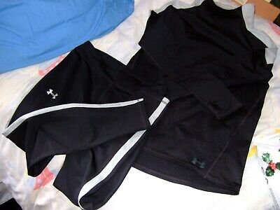 Girls Under Armour Matching Leggings and Top,Black/Grey,Very Good Used Condition