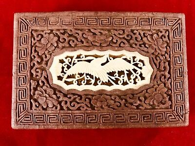 Antique Chinese Cinnabar Red Lacquer Box Bone Carving Top Floral Decoration