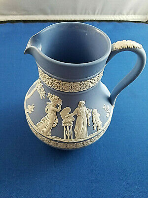 Antique Jasperware Wedgwood Blue & White Classical Figures Cream Pitcher 5""
