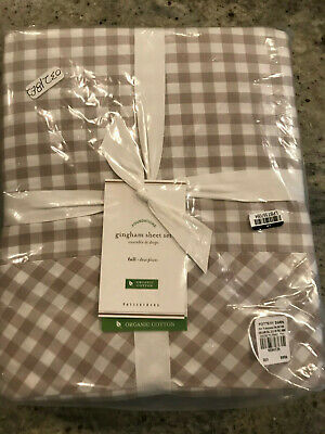Pottery Barn Gingham Check Sheet Set Navy Blue Queen Cottage Chic Farmhouse New