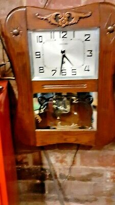 ART DECO  Box style wall clock in Good Condition and Working order