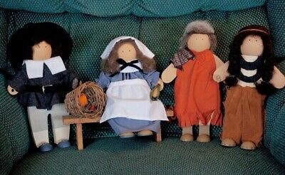 Lizzie High Thanksgiving Pilgrims and Native Figurines