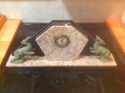 Art Deco Pink Marble Clock With Jumping Antelope