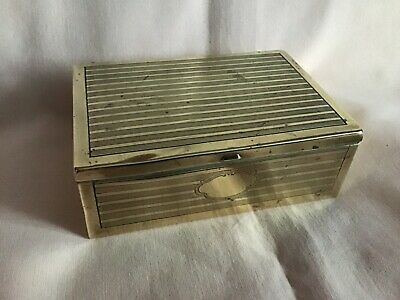 Art Deco Brass Engine Turned Cigarette Case In Well Used Vintage Condition.