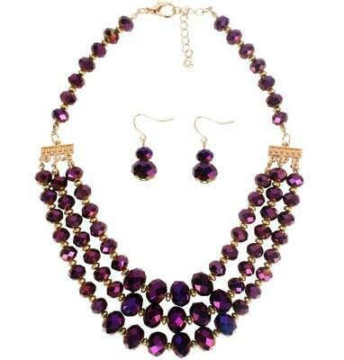 Women Faceted Pendant Crystal Bead Collar Choker Chunky Chain Statement Necklace