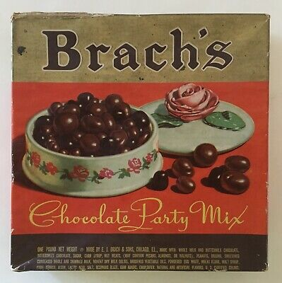 Vintage BRACH'S Chocolate Party Mix Advertising Candy BOX Chicago