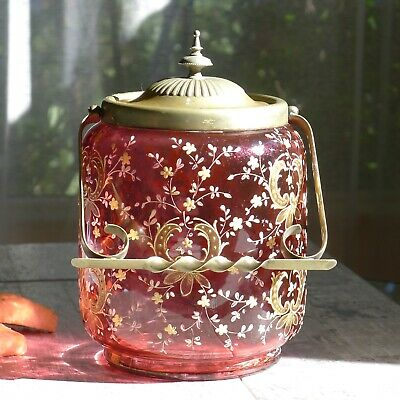 Antique Cranberry Glass Gold Enamel Biscuit Jar Victorian Cookie Tea Service Eng
