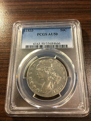 1833-P Capped Bust Silver Half Dollar 50C PCGS AU 50 Type 1, Lettered Edge