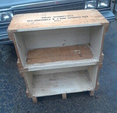 Lot of 2 Antique Vintage Advertising Wood Crate Box Shelf Shelving