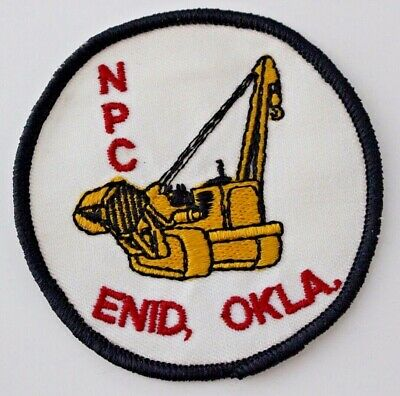 Vtg NPC Enid, Oklahoma Embroidered Patch Construction Tractor Oil & Gas Pipe OK