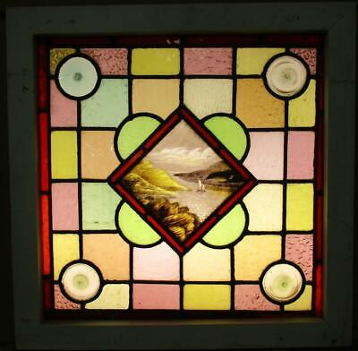 "VICTORIAN ENGLISH LEADED STAINED GLASS WINDOW Hand Painted Boat 20.25"" x 20.25"""