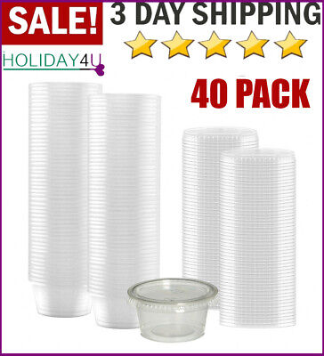 Small Sauce Containers Lids Disposable Salad Dressing Cups Plastic Leak Proof