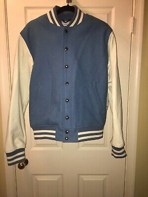 NWT American Apparel Leather Varsity Jacket Men's / Unisex Blue Size Small $200