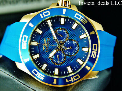 Invicta Men's 50mm Pro Diver Quartz Blue Dial Blue Tone 18K Gold Plated SS Watch