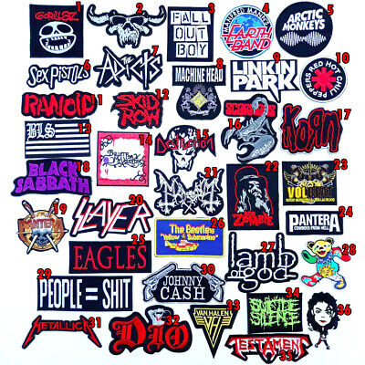 Rock Heavy Metal Punk Hiphop Band Music Iron On Patches Sew Embroidered DIY #3
