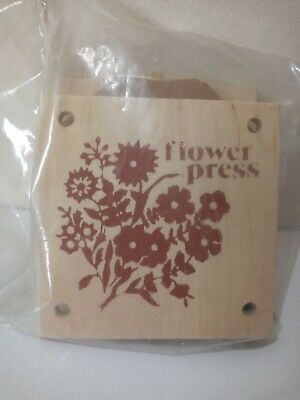 """Vintage FLOWER PRESS Small Wooden 3.5"""" Square Retro Arts Crafts Card Making"""