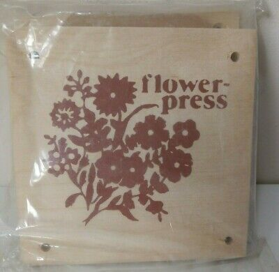 """Vintage FLOWER PRESS Small Wooden 5.75"""" Square Retro Arts Crafts Card Making"""
