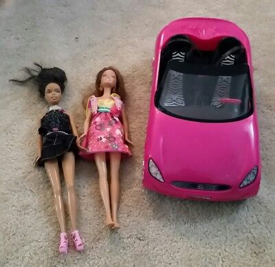 Barbie Glam Auto Doll W Pink Car Coupe Convertible 2009 2 Dolls car vehicle