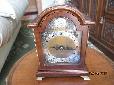 rare small elliottt tempus fugit bracket clock with tea caddy arch,brass feet
