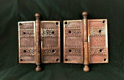 "Victorian Gothic Heavy Cast Brass Door Hinges Matching pair Pat.1882 -5"" x 5"""