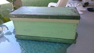 Crackle Antique green Painted Wooden Chest Box Trunk