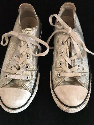 Girls Silver Converse All Star Shoes Trainers Size 2 Eur 34 White Laces