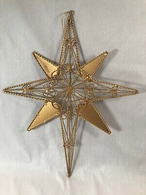 "Gold Metal Twisted Wire Christmas Tree Ornament Tree Topper 13.5""H 3 Dimensional"
