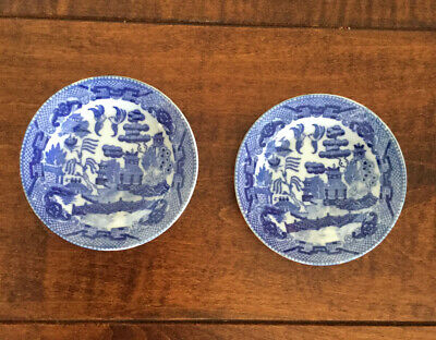 """2 Antique Blue Willow Child's Dinner Plates Porcelain Toy Dishes Japan 3 3/4"""""""