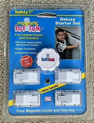 Magnetic Tot Lok 4 Lock Device Set Baby Proof Home Cabinet Drawer Key Included