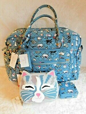 Vera Bradley Cats Meow Iconic Weekender Luggage Tag Cosmetic Bag Pill Case Nwt