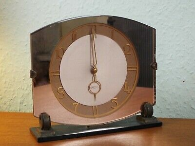 Lovely  Art Deco Smiths Peach Mirror Glass  Mantle Clock. Working
