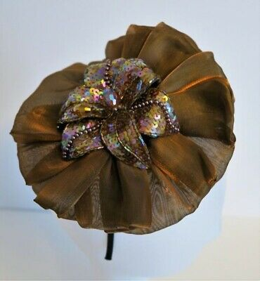 Brown Satin Fascinator With Sequin Flower Nwt