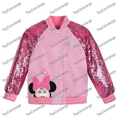 DISNEY Store VARSITY JACKET for Girls MINNIE MOUSE PINK SEQUIN Choose Size NWT