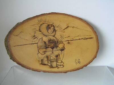 Plaque Wood Pyrography Etching Eskimo Hunting & Fishing Duo each side by S.I.G