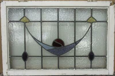 "OLD ENGLISH LEADED STAINED GLASS WINDOW TRANSOM Stunning Sweep 31.25"" x 20.75"""