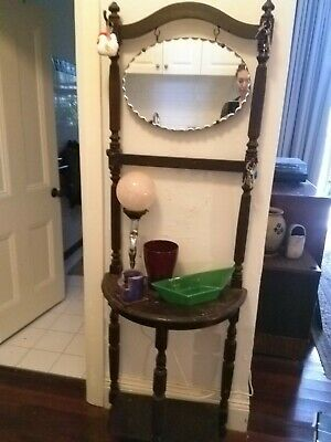 Vintage Hall Stand with mirror in excellent condition. Genuine antique.