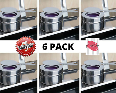 8 oz. Fuel / Sterno Stainless Steel Round Silver Holders with Cover 6 - Pack