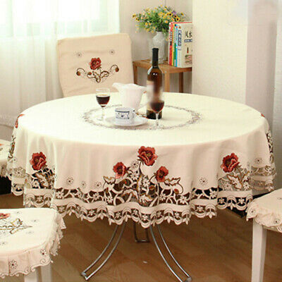 Embroidered Tablecloth Floral Laces Round Table Covers Dining Banquet Home Bar