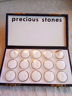 Precious Stones Sample Display Box Black Faux Leather 15 Small Round Tubes