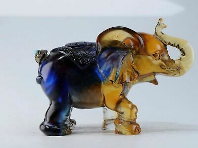 Chinese Exquisite Coloured glaze carved elephant shape snuff bottle