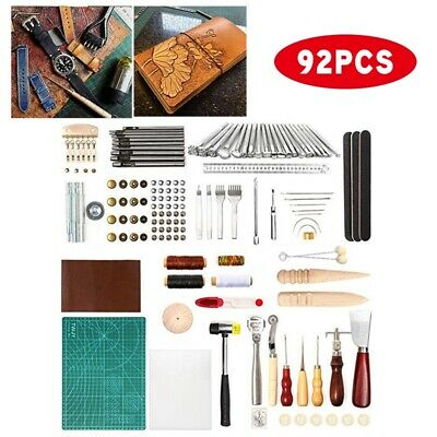 Leather Craft Tools Kit Hand Sewing Stitching Punch Carving Work Saddle Set DIY