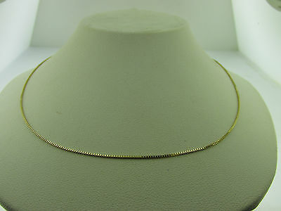 10kt Solid Yellow Gold Box Chain Necklace 16 inch 1.1 gm