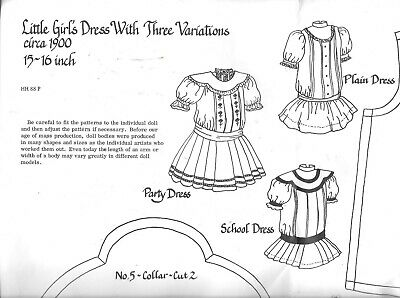 """Vintage 1977 Hobby house dolls clothes sewing pattern 15-16"""" party school dress"""