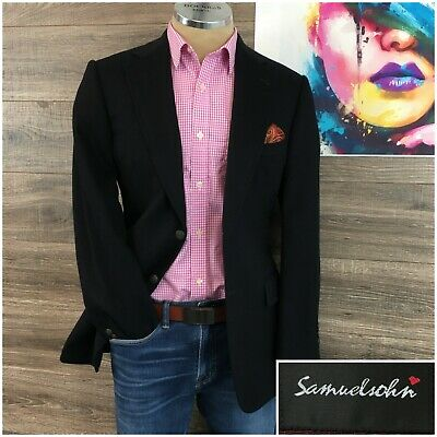 Samuelsohn Mens Blazer Metal Button Sport Coat Jacket Wool Cashmere Silk Sz 38R