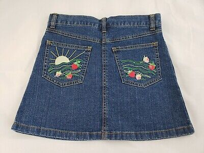 Gymboree GIrls Strawberry Farm Embroidered Blue 5 Pocket Jean Skirt Size 8 NWT